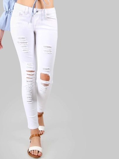 Low Rise Destroyed Skinnies WHITE