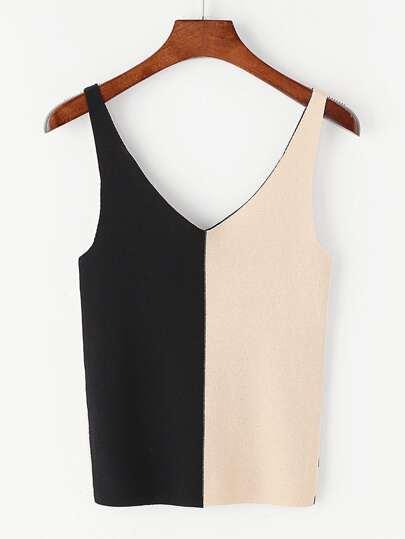 Top tricot col en V à double couleur contrastante