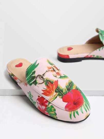Mocassini a pantofola con stampa floreale , rosa