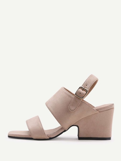 Apricot Open Toe Chunky Heeled Sandals