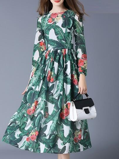 Green Leaves Print A-Line Dress
