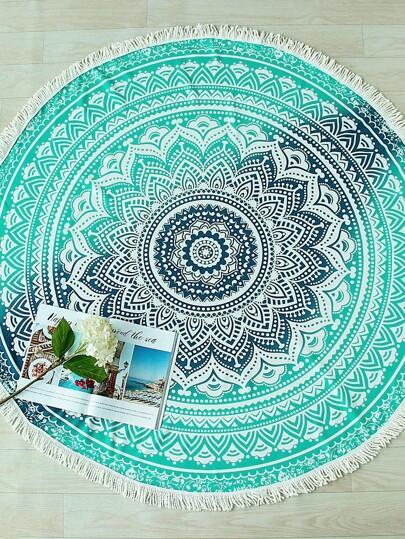 بطانية الشاطئ المستديرة طباعة الزهور - خضراء