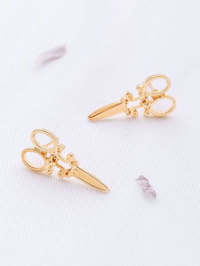 Gold Scissors Shaped Stud Earrings