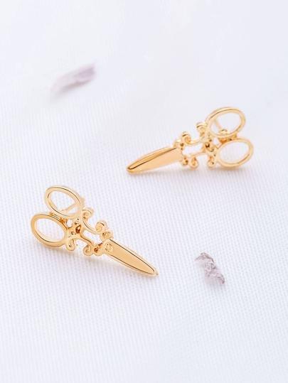 Boucles d'oreilles en forme de ciseaux en or
