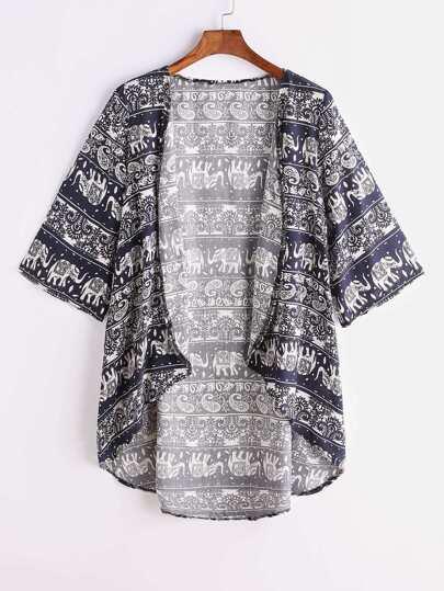 Navy Kimono Kimono Imprimé à Impression Tribale