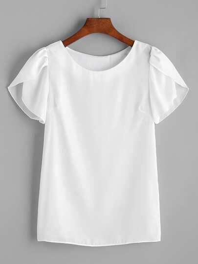 Weiße Chiffon Bluse mit Petalärmeln