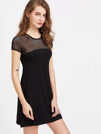 Black Eyelet Mesh Shoulder A Line Tee Dress