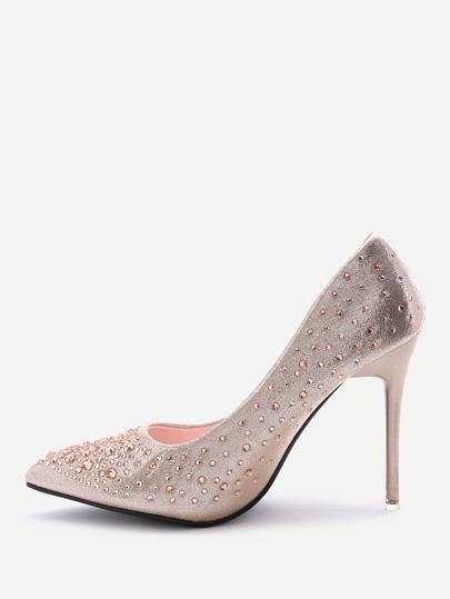 Zapatos de tacón alto punto con detalle de cristal - dorado
