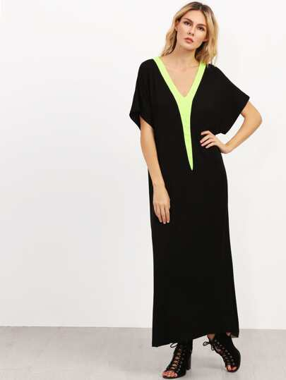 Black V Neck Short Sleeve Shift Maxi Dress