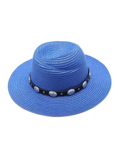 Blue Straw Hat With Faux Leather Band