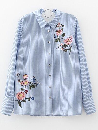 Синяя модная блуза в полоску с вышивкой