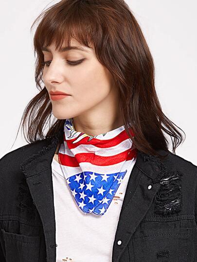Pañuelo cuadrado con estampado de bandera y águila