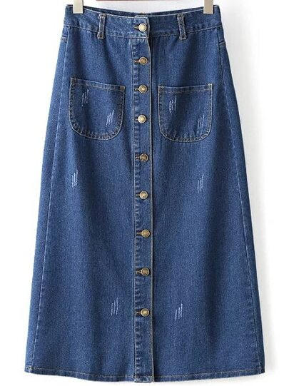 Blue Single Breasted A Line Denim Skirt