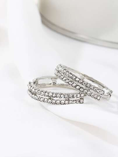 Silver Rhinestone Design Hoop Earrings