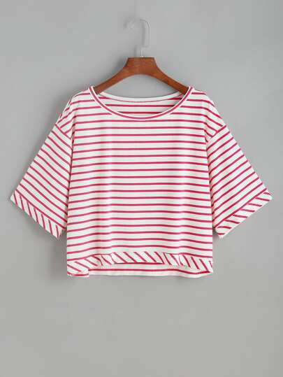 Camiseta de rayas con hombros caídos - rojo blanco
