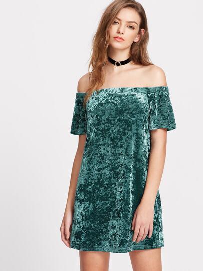 Condite con velluto spalle nude - verde