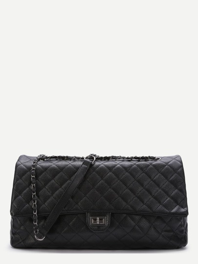 Black Quilted Shoulder Bag With Chain