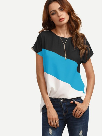 Color Block Keyhole Back Top