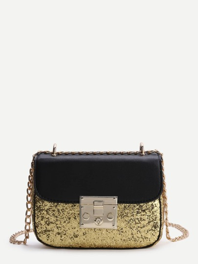 Sequin Detail PU Chain Bag