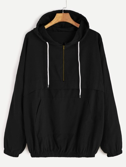 Black Drop Shoulder Zip Detail Pocket Drawstring Hoodie