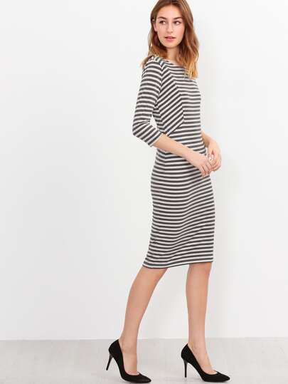 Three Quarter Length Sleeve Striped Dress