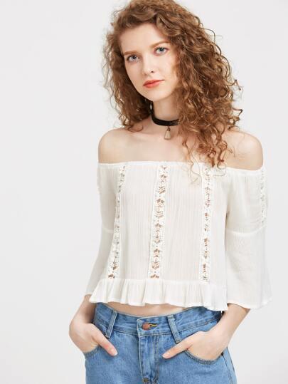 Bardot Lace Crochet Peplum Frill Blouse