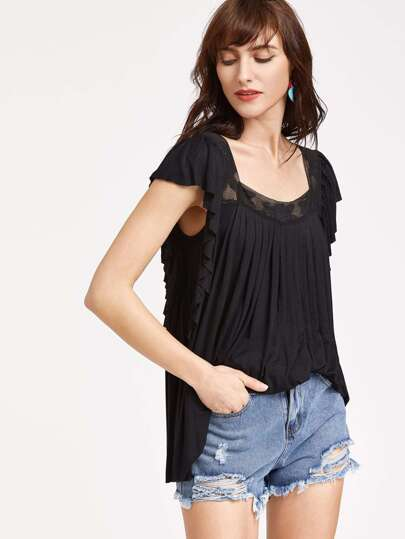 Square Neck Lace Insert Pleated Swing T-shirt