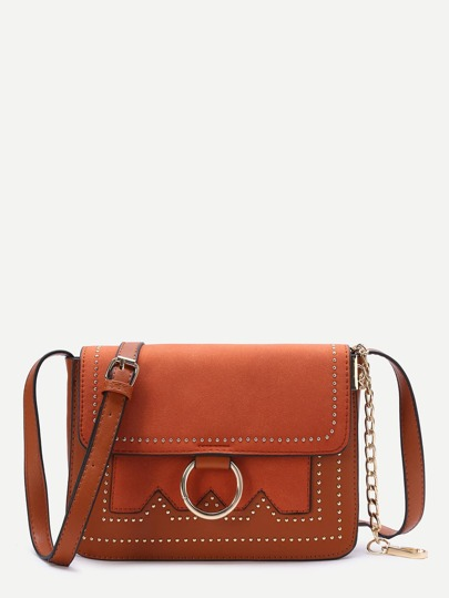 Brown Ring Detail Flap Shoulder Bag