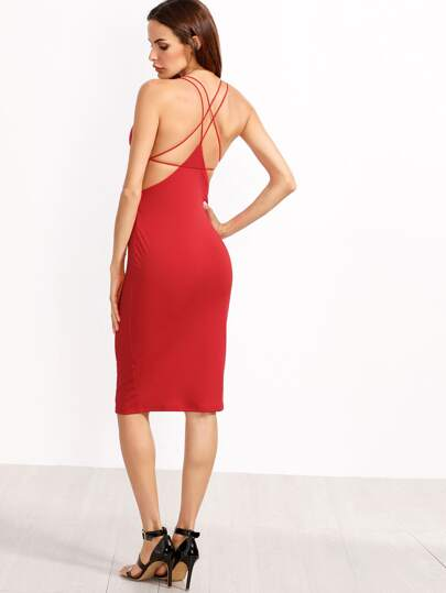 Red Split Side Star Back Sheath Dress