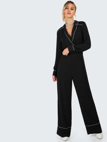 Tailored Piped Pajama Jumpsuit BLACK