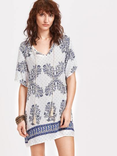 White Vintage Print Tassel Tie Tunic Dress