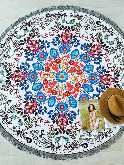 Floral Print Fringe Detail Round Beach Blanket