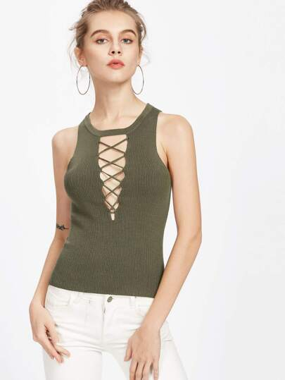 Rib Knit Crisscross Plunging Tank Top