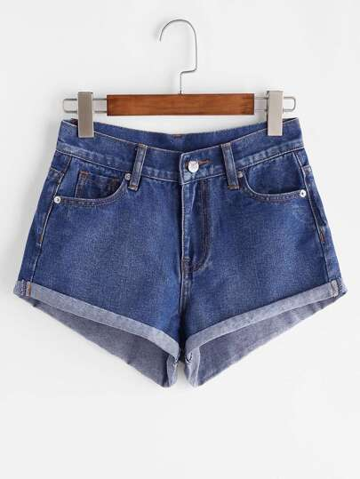 Shorts in denim con risvolto - blu