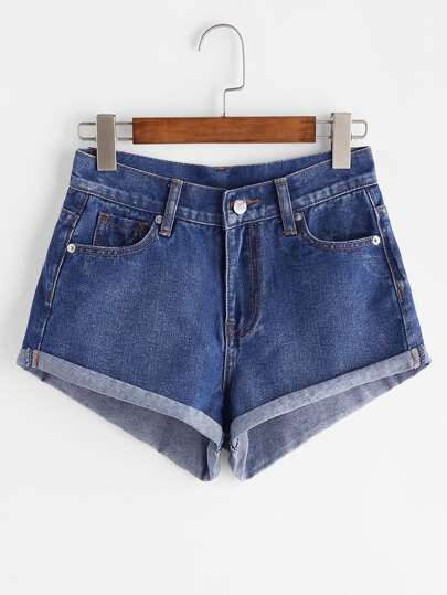 Denim short à revers - bleu