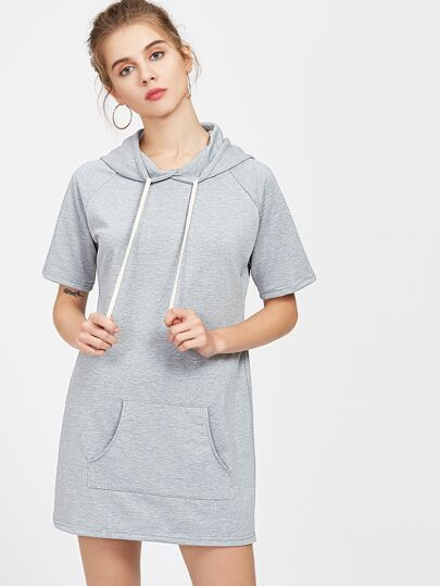 Hooded Raglan Sleeve Tee Dress With Kangaroo Pocket