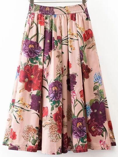 Elastic Waist Midi Skirt In Floral