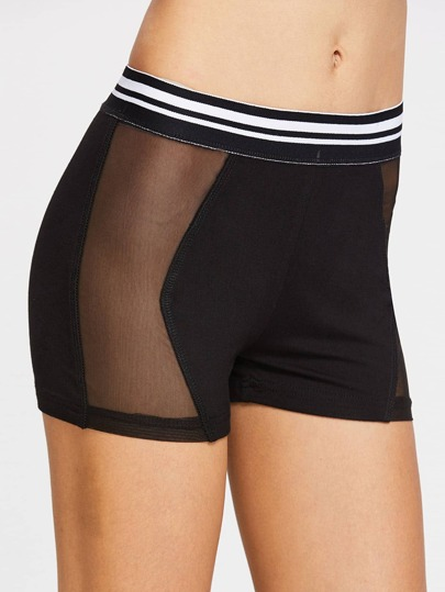 Striped Waist Mesh Panel Short Leggings