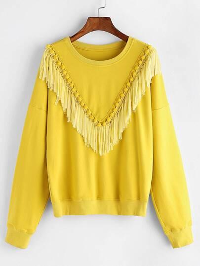 Yellow Drop Shoulder Fringe Trim Sweatshirt