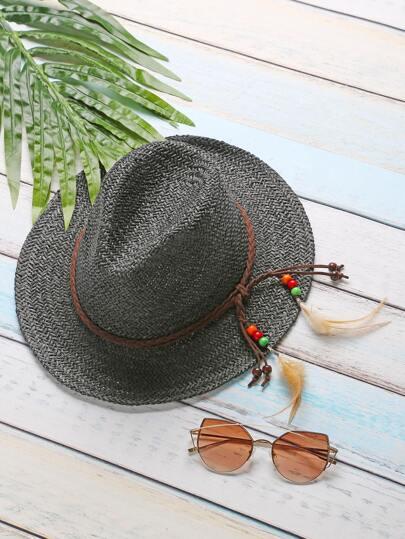 Sombrero de paja con detalle de pluma - negro