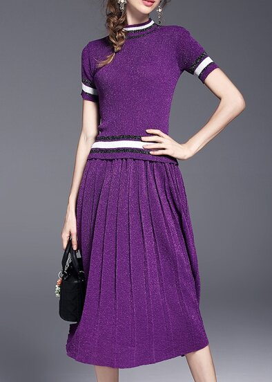 Purple Color Block Top With Pleated Skirt