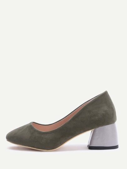 Contrast Chunky Heeled Shoes