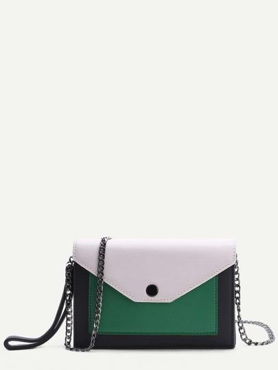 Color Block Flap Chain Bag