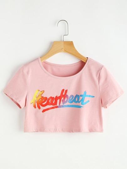 Pink Letter Print Crop T-shirt