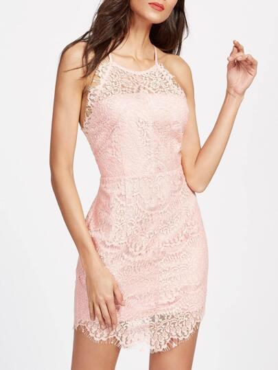 فستان  الدانتيل طباعة الزهور - وردي