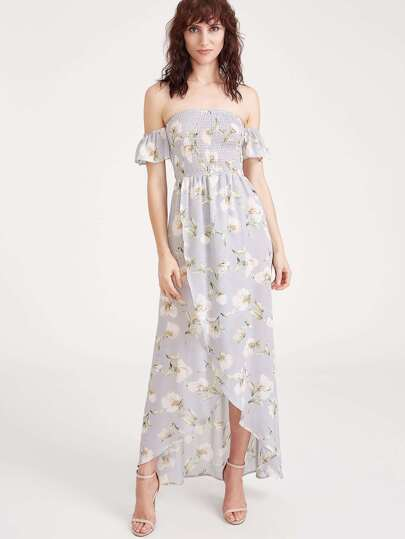Bardot Split Front Strappy Back Floral Dress