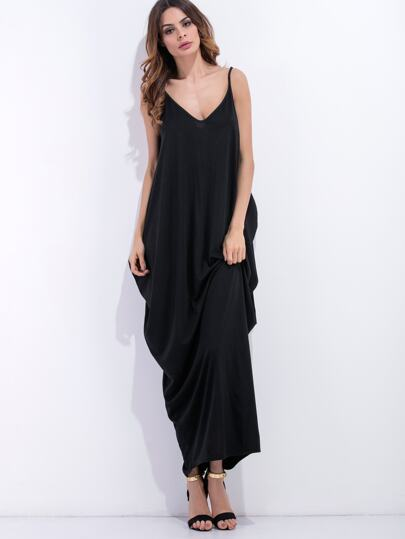 Black Spaghetti Strap Cocoon Dress