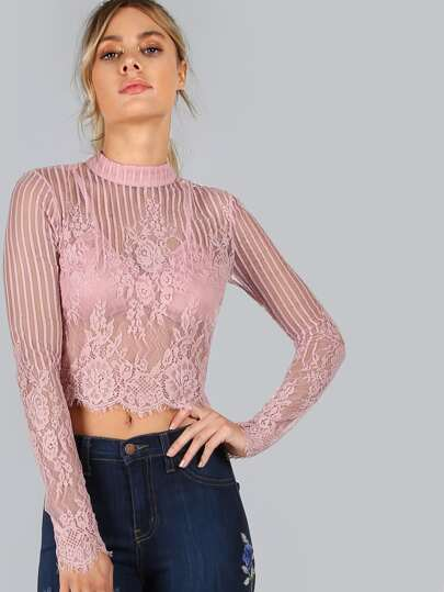 Sleeved Floral Lace Crop Top PINK