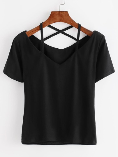 T-Shirt mit V-Cut und Kreuzgurte hinten