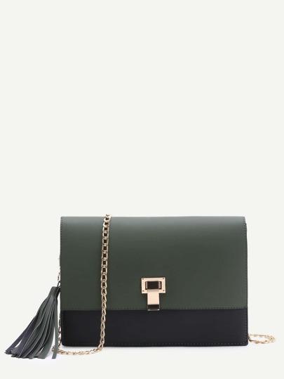 Тёмно-зелёная модная сумка с бахромой
